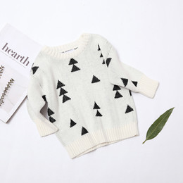"""Wholesale Spring Cardigan Toddler - Christmas Pine Trees """"Woods"""" Jumper White Bobo Choses Cotton Long Sleeved Knits Sweater Toddler Girl Pullover Fashion Clothing"""