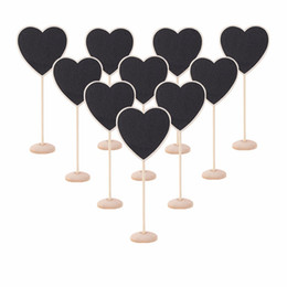 Wholesale Blackboard Table - Wholesale-10Pcs pack Mini Heart Shape Wooden Blackboard Cute Chalkboard Message Notice Number Tag Board Shop Wedding Party Table Decor