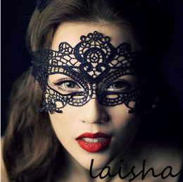 Wholesale sexy play costume - hollow mask Fun Sexy costume Halloween Party masks Sexy black lace goggles nightclub queen play accessories