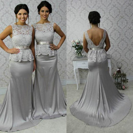 Wholesale Sexy Peplum Bridesmaid Dress - Popular 2016 Elegant Long Bridesmaid Dress Sheer Lace Bateau Neckline Sleeveless Sexy Backless Wedding Guest Gowns with Peplum and Bow Sash