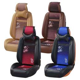 Wholesale Velvet Seat Cushions - Full Set 5 Seats Car Cushion Seats Cover Leather Velvet Filled Breathable Wearable Flower Pattern Four Seasons