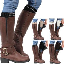 calentadores de calcetines cortos Rebajas Calentadores de la pierna de las mujeres punto botas botines para mujer botón Accesorio calcetines cortos de la pierna envío libre en stock
