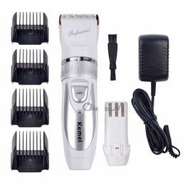 Wholesale Kemei Trimmer Cut - Titanium Blade Kemei Professional Hair Trimmer Electric Hair Clipper Cutting Machine Shearer 110V-220V + Extra Battery Free Shipping