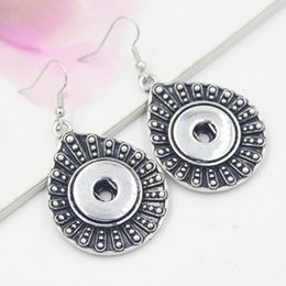 Wholesale Tear Drop Jewelry - New Arrival Wholesale Noosa Snap Jewelry Earrings DIY Interchangeable 18mm Button Snaps Fish Hook Dangle Tear Drop Snap Earrings