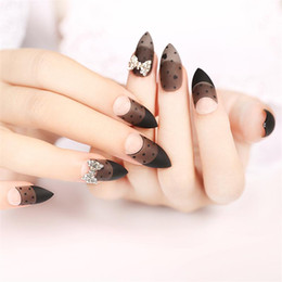 Wholesale Fake Nails Designs - High-grade Shining fake nails patch finished nail Art Pointed Full Cover Manicure Pre design False Nail Tips for office lady women girl