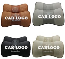 Wholesale Mercedes S - 2 X Genuine Leather Car Headrest Pillow Neck Rest Pillow Seat Cushion Covers for Mercedes-Benz B200 Smart S R-Class Viano Vito
