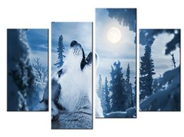 Wholesale Cool Canvas Art - YIJIAHE Landscape Print Canvas Painting Art Cool Wolves 4 Piece Canvas Art Wall Pictures For Living Room Large Wall Art DW301