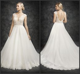 Wholesale Custom Made Alencon Lace Gown - Ivory Capped Sleeves Wedding Dresses EG 2016 Sheer Scoop Neckline Corded Alencon Lace Ella Rosa Tulle A Line Bridal Gowns Chapel Train BE324