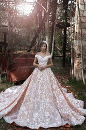 Wholesale princess bling wedding dresses - A Line Off Shoulder Pink Cheap Country Vintage White Lace Applique Wedding Dresses 2016 Bling Sexy Wedding Gowns