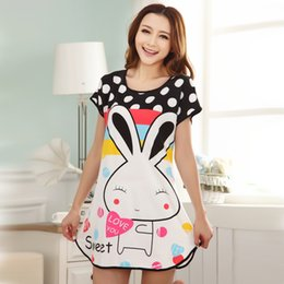 Wholesale Women Sleep Shorts - Wholesale-Summer Short Sleeve Nightgown Women Comfortable Cool Milk Silk Fabric Cute Girl Sleepwear Cartoon Printing Sleeping Home Dress