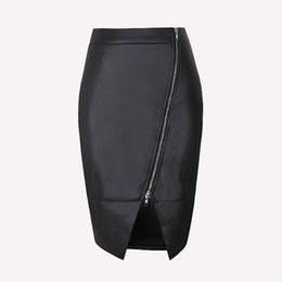 Wholesale Leather Dress Zipper Front - New Fashion Black PU Leather Skirt Front Zipper Mini Bodycon Skirt Dress Sexy Slim Split Pencil Skirts ZSJF0428