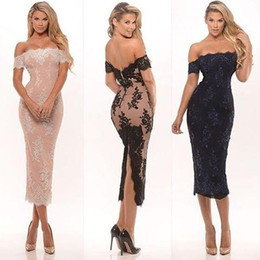 Wholesale Ruffle Cocktail Dress Sale - Sexy Off The Shoulder Lace Cocktail Dress 2016 Tea-Length Party Gowns With Applique Lace Pink Black Bridesmaid Gowns Cheap Sale Formal Dress