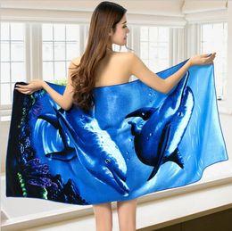 Wholesale Cute Beach Towels Wholesale - Body Towel Cute Style Microfiber Fabric Dolphin Beach Towel Quick-Dry Bath Towel Fitness Beach Swim Camping 70x150cm multiple styles