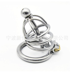 Wholesale Short Chastity Cage Catheter - Latest Design Male Chastity Cock Cage Sex Slave Penis Lock Anti-Erection Device With Removable Urethral Sounding Catheter Shortest Sex Toy