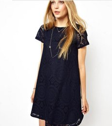 Wholesale Dress Red Lace Sleeves Tall - Europe and the United States in the summer 2016 pure color sets round collar of tall waist loose lace dress with short sleeves