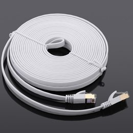 Wholesale Laptop Flat Cables - 15m High Speed 10Gbps Cat7 SSTP RJ45 Network Flat LAN Cable Internet Network Cable with Plated Connector