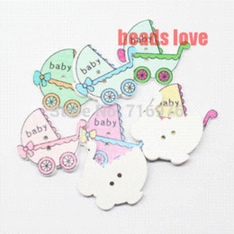 Wholesale Cartoon Wood Buttons - Wholesale 100Pcs Mixed baby carriage Cartoon Multicolor 2 Holes Wood Sewing Buttons Scrapbooking 35x33mm(W02546) M68019 button attacher