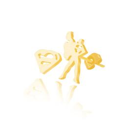 Wholesale Earring Superman - Wholesale 10Pcs lot Time-Limited 2017 Fashion 18K Gold Earrings For Women Punk Jewelry Lot Earrings Cool Superman Stud Earrings 925 Silver