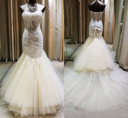Wholesale Evening Purple Memaid Dress - Sexy Lace See Through Prom Dresses Sweetheart Ivory Memaid Evening Gowns Tulle Tiered Sweep Train Formal Party Dresses Girls Pageant Gowns