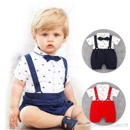 Wholesale Cool Baby Girls - RMY30 NEW 2 Design infant Kids Gentelmen style Cotton Cool short sleeve Straps Romper baby Climb clothing boy girl Romper +hat free ship