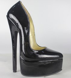Wholesale Ladies Black Silver Toe Heels - New Full grain leather Genuine leather pump EXTREME high HEEL 20CM high heel with platform women lady shoes Sexy fetish high Heels sexy pump