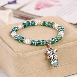Wholesale Boho Vintage Bracelet - Cute Rainbow Bracelets Butterfly Pendant Boho Female Vintage Jewelry Colorful Crystal Crystal chain Candy Beads Bracelet