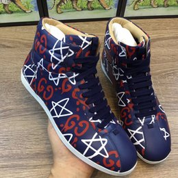 Wholesale Media Photos - DHL Free shipping 2017.1013 real photos new classic fashion top quality whith Tags men midcut print casual shoes 38-44