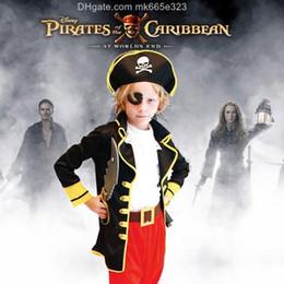 Piratas caribe ropa online-2016 Niños de Halloween Caribbean Pirate Cosplay Theatre Performance Apparel 6 Unids Sets Traje de Los Niños Viste Baile Vestido de Ropa de Bebé