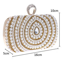 Wholesale Silver Bridal Party Evening Bags - In Stock Bling Bling Black Silver Beaded Pearls Clutches Double Handle Bridal Hand Bags Evening Party Prom Crystals Special Occasion Bags
