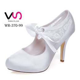 Wholesale Black Satin Platform Pumps - 10cm heel Nice Lace Ivory Color Platform Pump Style Bridal Shoes Wedding Dress Shoes Handmade Shoes for Wedding Prom Party Shoes Size 42