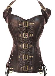 2019 vestito di un pezzo in pelle All'ingrosso-2016 nuovo Balck marrone in pelle Overbust corsetto steampunk overbust abbigliamento gotico korsett corse corselet corpete e espartilho E39