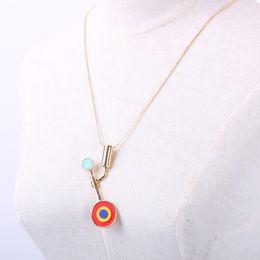 Wholesale Blue Epoxy Resin - Pendant snake chain necklace brass alloy fashion carol bijou jewelry enamel epoxy imitation gold vermeil plating blue opal