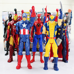 Wholesale marvel avengers heros figures - Avengers PVC Action Figures Marvel Heros 30cm Iron Man Spiderman Captain America Ultron Wolverine Figure Toys OOA1340