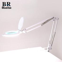 Wholesale Lamp Dental - nail table Bluerise LED Light White EU Plug Desktop Folding Magnifying Glass Nail Beauty Tatoo Dental Hospital Flexible Table Lamp