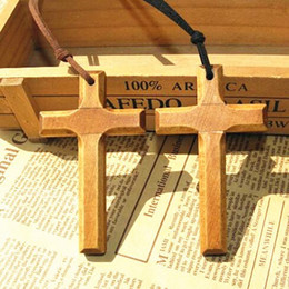 Wholesale Cross Leather Cord - Christian Solid wooden cross pendant necklace vintage long sweater chain leather cord men women jewelry handmade stylish Xmas gifts 12pcs