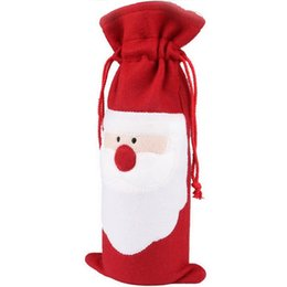 Wholesale Christmas Ornaments Wholesale Suppliers - Wholesale- Red Wine Bottle Cover Bags Christmas Dinner Table Decoration Home Party Decors Santa Claus Christmas Supplier Free Shipping