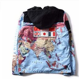 Wholesale Novelty Spandex - 2017 HOT National Flags World Map Printing Windbreaker Patchwork Jacket Cardigan Hoodies Hat Removable Hooded Jacket 4 Color