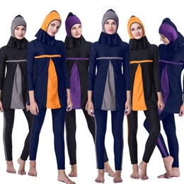 Wholesale islamic swimsuit swimwear - 2018 Cheap Swimwear Women Muslim Swimwear Swimsuit Plus Size Women Full Cover Islamic Hijab Islam Bikini Muslim Beach Swim Wear Bathing Suit