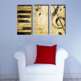 Wholesale Modern Music Oil Painting - 3 Pieces Music Canvas Paintings Modern Wall Art Home Decoration Printed Painting Pictures No Frame Canvas Prints Classical Piano