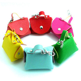 Wholesale Small Gift Cards Wholesale - Leather Coins Purse small Change Wallet Coin Purses Bags Pouch Women Ladies Girls wallets keychain charm Gifts fashion accessories wholesale