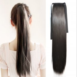 "Wholesale Human Hair Straight Drawstring Ponytail - Sara Similar human Ponytail Drawstring Straight Ribbon Ponytails Clip in Hair Extensions 55cm,22"" Pony Tail Horsetail Synthetic Hairpieces"