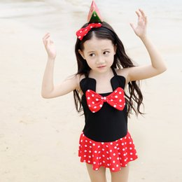 Wholesale Minnie Mouse Swim Suits - Mickey Minnie Mouse Swimwear Costume Children Kids Girls One Piece Swimsuit Bathing Swimming Suit Free Shipping
