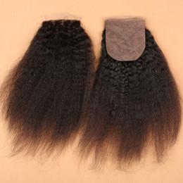 Wholesale silk base top lace closure - Brazilian Kinky Straight Silk Base Closure 4X4 Virgin Human Hair Closure Bleached Knots Free Middle 3 Part Lace Top Base Closure