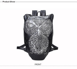 Wholesale Cool Motorcycle Women - Women Backpack 2016 Newest Stylish Cool Black PU Leather Owl Backpack Female Hot Sale Women Bag In Stock Fast Shipping