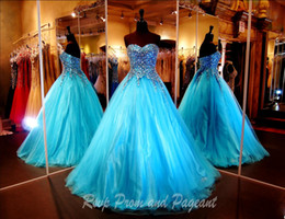 Wholesale Turquoise Silver Prom Dresses - Turquoise Ball Gown Prom Dresses 2017 Sweetheart Strapless Multi Colored Stones Beaded Tulle Quinceanera Dresses Formal Masquerade Gowns