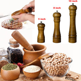 Wholesale Wooden Salt Pepper Grinders - 5 8 10 Inch Wooden Salt Pepper Grinders Salt Pepper Spice Sauce Grinder Tool Mill Blender Muller Stick Pepper Mill Kitchen Tools WX9-101