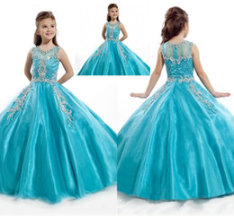 2019 New Little Girls Pageant Dresses Princess Tulle Sheer Jewel Crystal Beading White Coral Kids Flower Girls Dress vestidos de cumpleaños HY1187 desde fabricantes