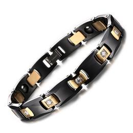 Wholesale Ceramic Magnetic Bracelets Black - 316L Stainless Steel Bracelet Bio Elements Energy Magnetic Health Hematite Bracelet Men Inlaid CZ Stone Black Ceramic Bracelets B828S
