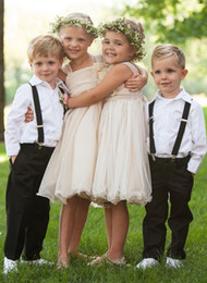 Wholesale Simple Dresses For Pageants - Simple Flower Girl Dresses 2016 Country Fashion Style Pageant Dress For Little Girls Knee Length Cheap Kids Evening Gowns Conmmunion Dress