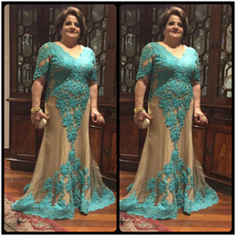 Wholesale Groom Charms - Charming Plus Size Lace Mother Of The Bride Dresses With Half Sleeve A Line Floor Length Formal Dress For Mother Groom Gowns With Beaded